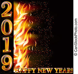 Happy New 2019 Year fire giftcard, vector illustration