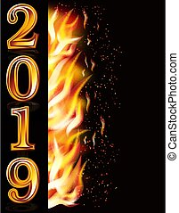 Happy New 2019 Year fire greeting banner, vector illustration