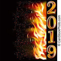 Happy New 2019 Year fire invitation banner, vector illustration
