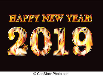 Happy New 2019 Year flame invitation banner, vector illustration