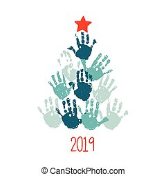 Happy New 2019 Year. Handprint Christmas tree with red hand drawn star. Christmas card design. Vector eps 10 illustration isolated on white .