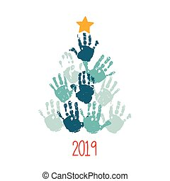 Happy New 2019 Year. Handprint Christmas tree with yellow hand drawn star. Christmas card design. Vector eps 10 illustration isolated on white .