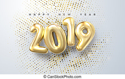 Happy New 2019 Year. Holiday vector illustration of golden ...