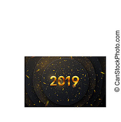 Happy New 2019 Year. Holiday vector illustration of golden...