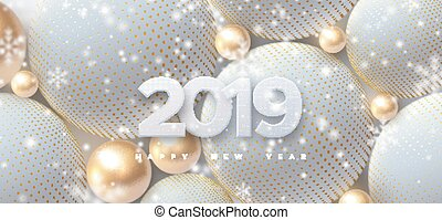 Happy New 2019 Year. Holiday vector illustration of white...