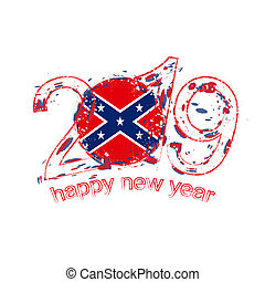 Happy New 2019 Year with flag of Confederate. Holiday grunge vector illustration.