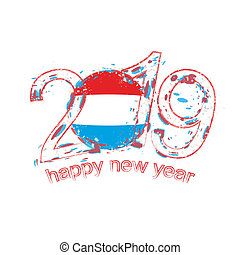 Happy New 2019 Year with flag of Luxembourg. Holiday grunge vector illustration.