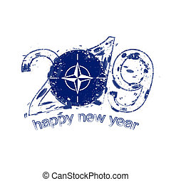 Happy New 2019 Year with flag of Nato. Holiday grunge vector illustration.