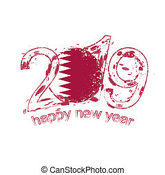 Happy New 2019 Year with flag of Qatar. Holiday grunge vector illustration.