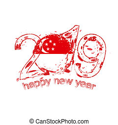 Happy New 2019 Year with flag of Singapore. Holiday grunge vector illustration.