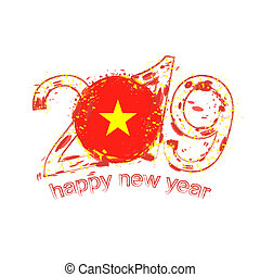 Happy New 2019 Year with flag of Vietnam. Holiday grunge vector illustration.