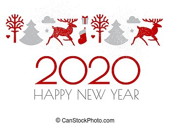 Happy new 2020 year Christmas design with Reindeer and fir trees and holiday decoration.