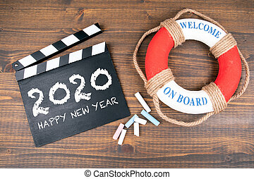 Happy New 2020 Year. Welcome on board. Lifebuoy with text