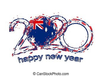 Happy New 2020 Year with flag of Australia.