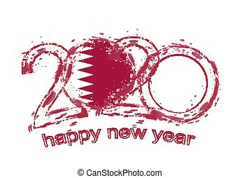 Happy New 2020 Year with flag of Qatar.