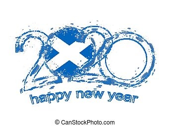Happy New 2020 Year with flag of Scotland.