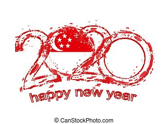 Happy New 2020 Year with flag of Singapore.
