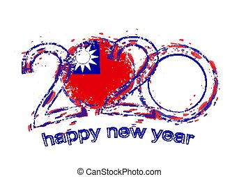 Happy New 2020 Year with flag of Taiwan.