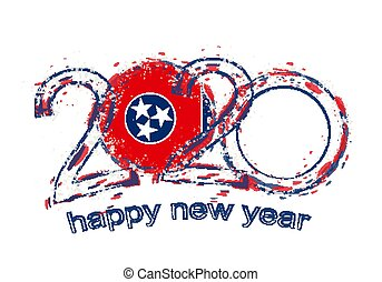 Happy New 2020 Year with flag of Tennessee.