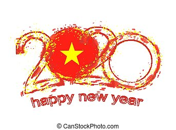 Happy New 2020 Year with flag of Vietnam.