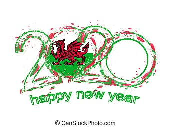 Happy New 2020 Year with flag of Wales.