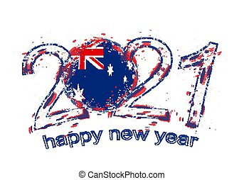 Happy New 2021 Year with flag of Australia.