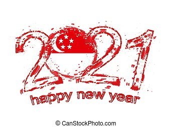 Happy New 2021 Year with flag of Singapore.