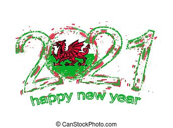 Happy New 2021 Year with flag of Wales.