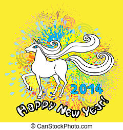 happy new horse year - Happy New Year greetings card for...