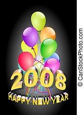 Happy new year 2008 - 3D text illustration of 2008 new year...