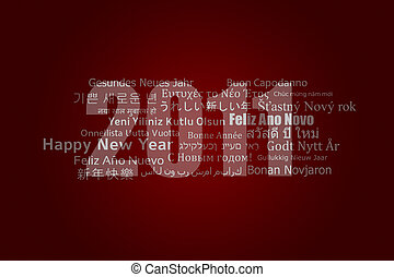 A new year card with best wishes in different languages