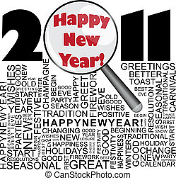 Happy new year 2011 concept with word collage and magnifier