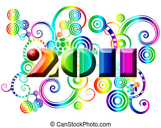 Happy New Year 2011 with Colorful Swirls and Circles Illustration