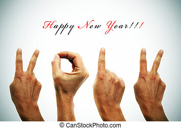 happy new year 2012 - happy new year with hands forming...