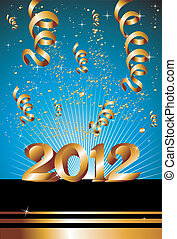 Happy New Year 2012 in blue background