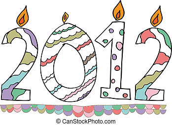 happy new year 2012 made with candles. Vector illustration