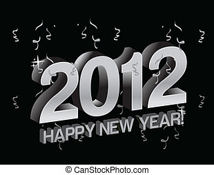happy new year 2012 with confetti