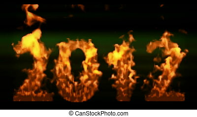 happy new year 2012,numbers 2012 burning with flames on...