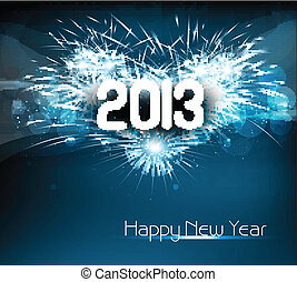 Happy new year 2013 blue colorful celebration vector...