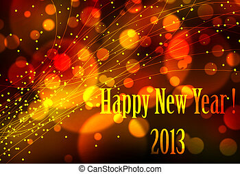 Happy new year 2013 card or background with bright lights ...
