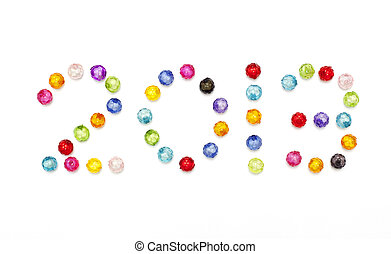 Happy new year 2013 decorate by colorful beads on white background