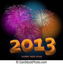 Happy New Year 2013 fireworks night scene background. EPS10...