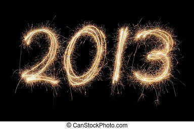 Happy New Year 2013 - Number 2013 written with real...