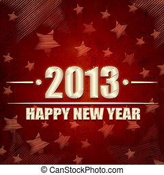 Happy New Year 2013 over red retro background with stars