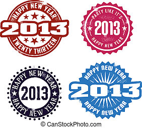 Vintage style stamps for 2012/2013 New Year's Eve Celebrations.
