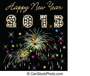 Happy new year 2013 with fireworks