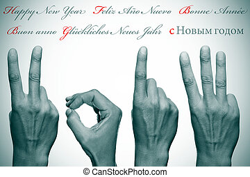 happy new year written in different languages with hands forming number 2013