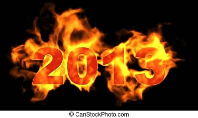 happy new year 2013,burning 2013 with fire on black background.
