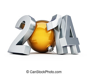 happy new year 2014 3d Illustrations on a white background