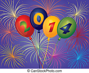 Happy New Year 2014 Balloons Fireworks Illustration